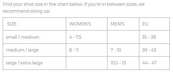 Goodhew Sockwell Size Chart